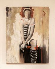 Ručně malovaný obraz na dřevěném rámu 90 x 69 cm  ID17252016