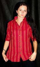 Dámská košile krátký rukáv proužky L