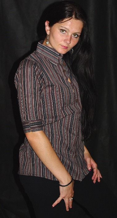 Dámská košile krátký rukáv proužky L NT0027 003