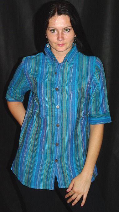Dámská košile krátký rukáv proužky L NT0027 005 KENAVI
