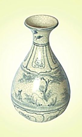 Keramická váza malovaná 20 cm antik