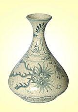 Keramická váza malovaná 28 cm antik