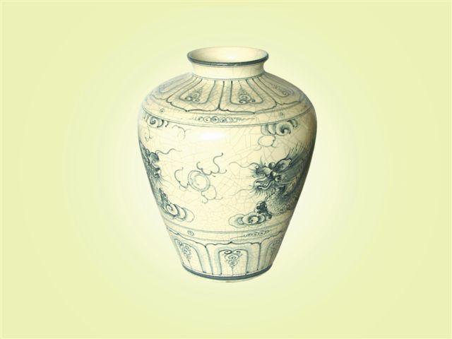 Keramická váza malovaná 32 cm antik