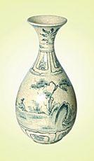 Keramická váza malovaná 33 cm antik