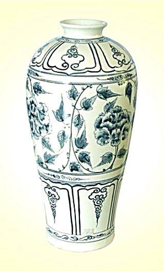 Keramická váza malovaná 41 cm