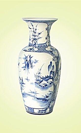 Keramická váza malovaná 47 cm