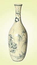 Keramická váza malovaná 49 cm antik