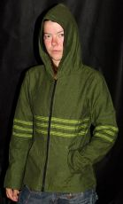 Plátěná bunda s kapucí, fleesová podšívka