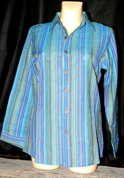 Dámská košile s dlouhým rukávem proužky velikost L NT0093 002