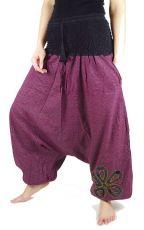 Kalhoty turecké SPIRALIS, ruční potisk s patchworkem,  Nepál