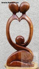 Socha abstrakt 50 cm z tvrdšího dřeva - MILENCI