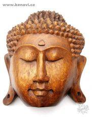 Buddhův obličej z tvrdého dřeva 20 cm - k zavěšení na stěnu
