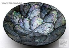 Dekorační talíř vykládaný perletí v resinu (obě strany)