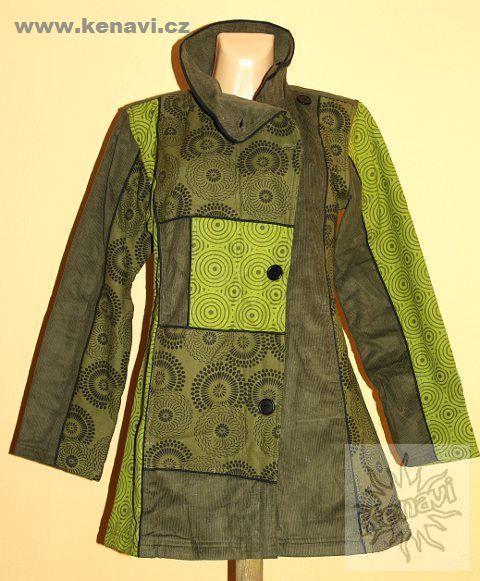 Manchesterový kabátek COLETTE s kanvasovými potisky M