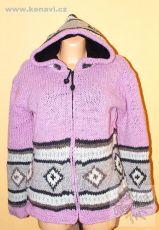 Vlněná svetrobunda s fleesovou podšívkou s kapucí