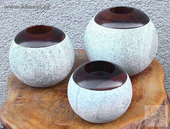 Sada svíčníky na čajové svíčky - kombinace kámen, dřevo