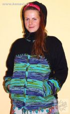 Vlněná svetrobunda s fleesovou podšívkou a odepínací kapucí