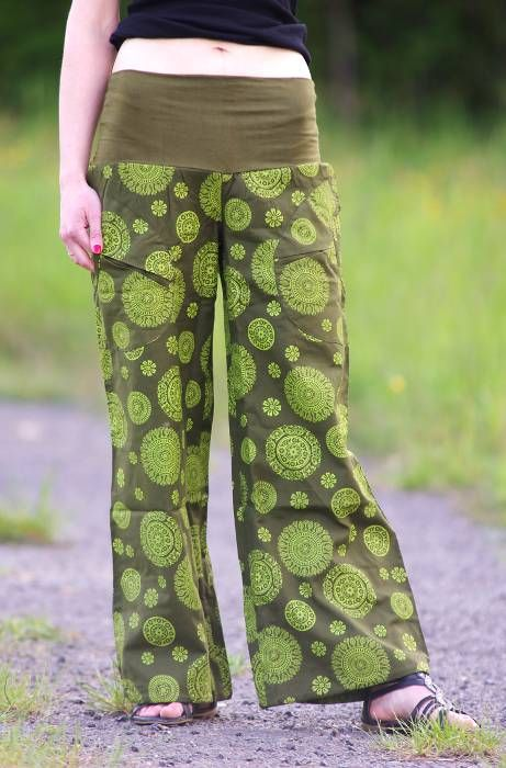 Kalhoty SUMMERY MANDALA, ruční potisk, pevná bavlna Nepál
