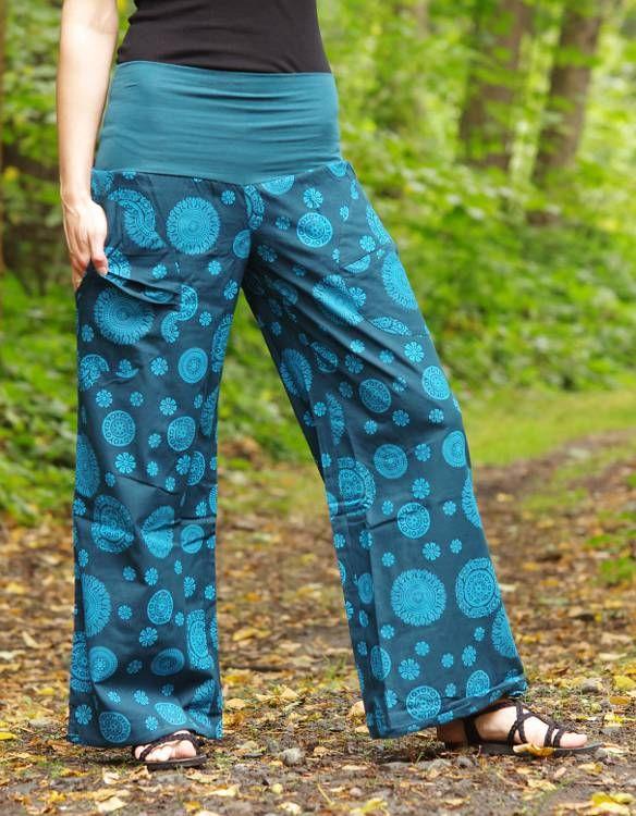 Kalhoty SUMMERY MANDALA, ruční potisk, pevná bavlna Nepál NT0053 07B 003