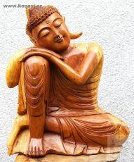 Soška Buddha se sklopenou hlavou natural 40 cm Indonésie