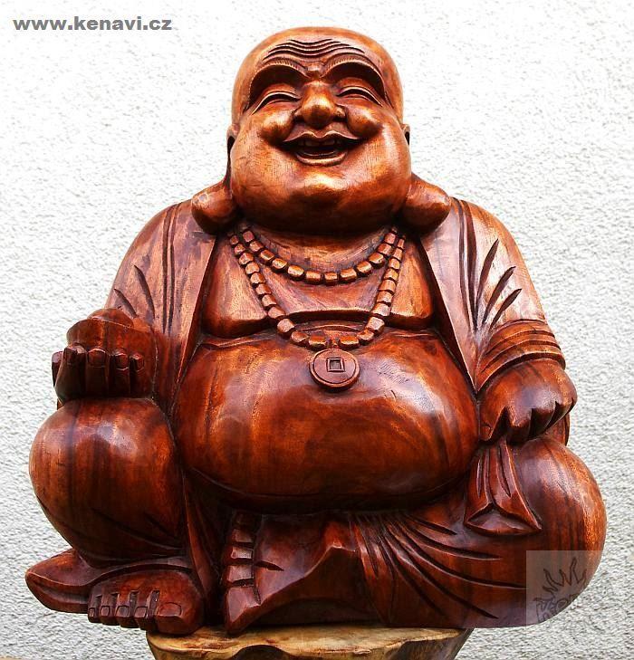 Soška Veselý Buddha (Happy Buddha) 50 cm hnědá Indonésie ID0090 001